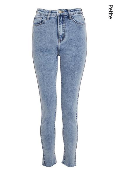 Petite Blue Acid Wash Mom Jeans